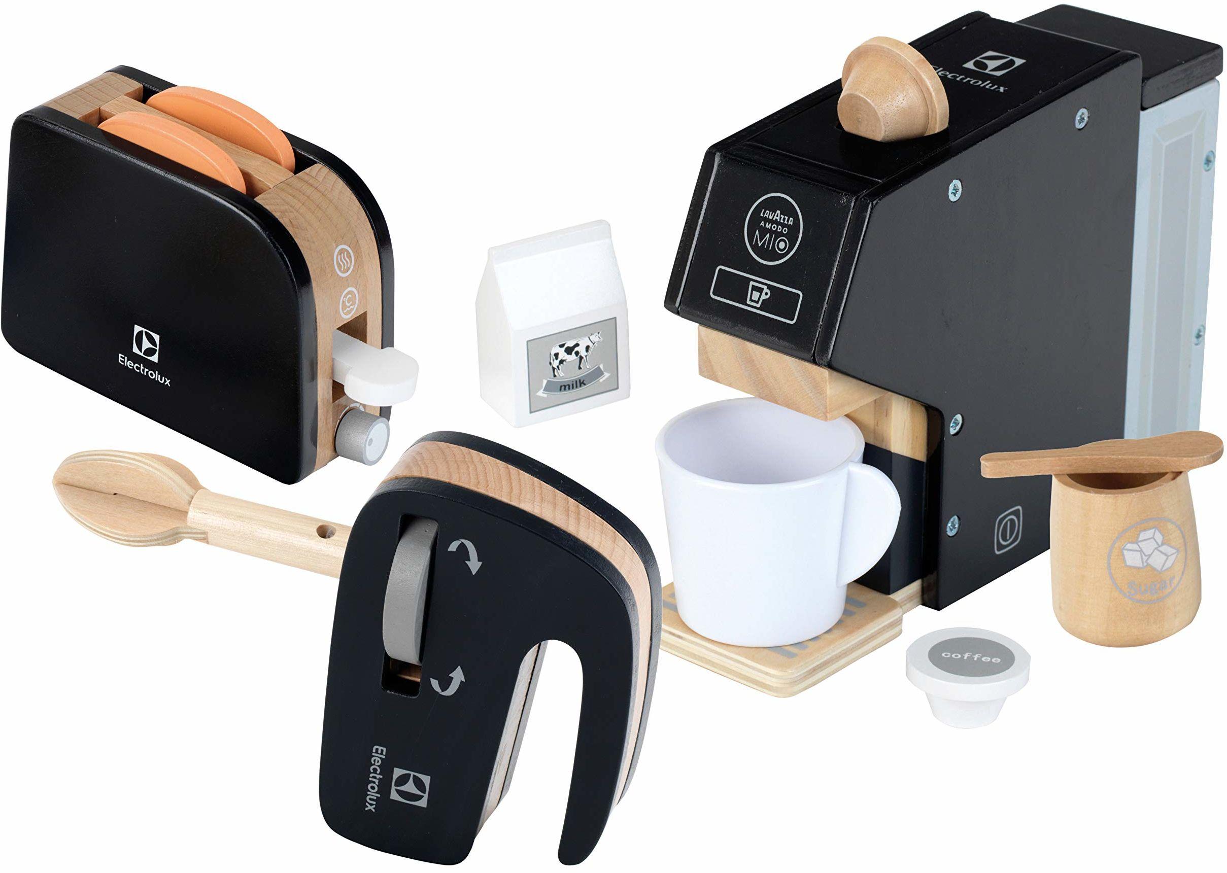 Theo Klein 7404 Electrolux, drewno I wysokiej jakości zestaw składający się z ekspresu do kawy, blendera i tostera I akcesoriów do kuchni zabaw zabawka dla dzieci od 3 lat