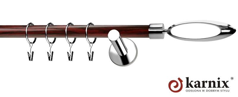 Karnisze Nowoczesne NEO Prestige pojedynczy 19mm Mirella INOX - mahoń