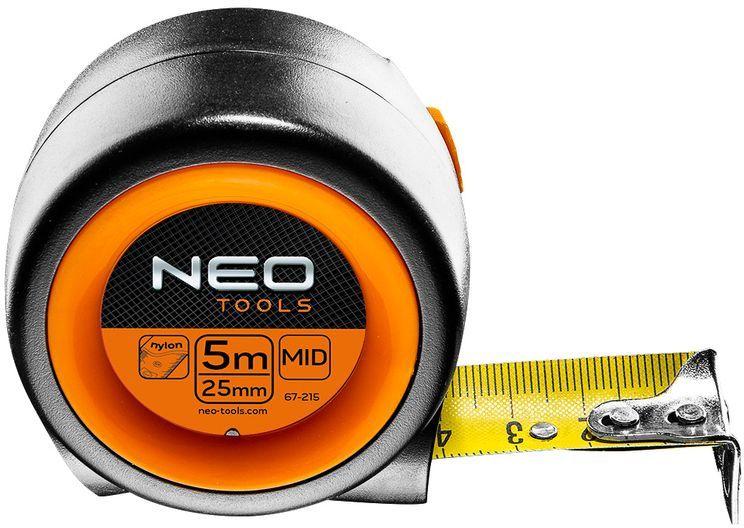 Miara zwijana stalowa kompaktowa 5 m x 25 mm, auto-stop, magnes 67-215