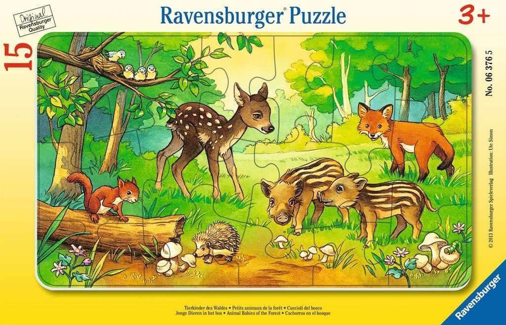 Ravensburger Puzzle 6376 Leśne Zwierzęta 15 Elementów Puzzle Dla Dzieci W Ramce (6376) Unikalne Elementy, Technologia Softclick - Klocki Pasują Idealnie ,06376 Tierkinder Des Waldes