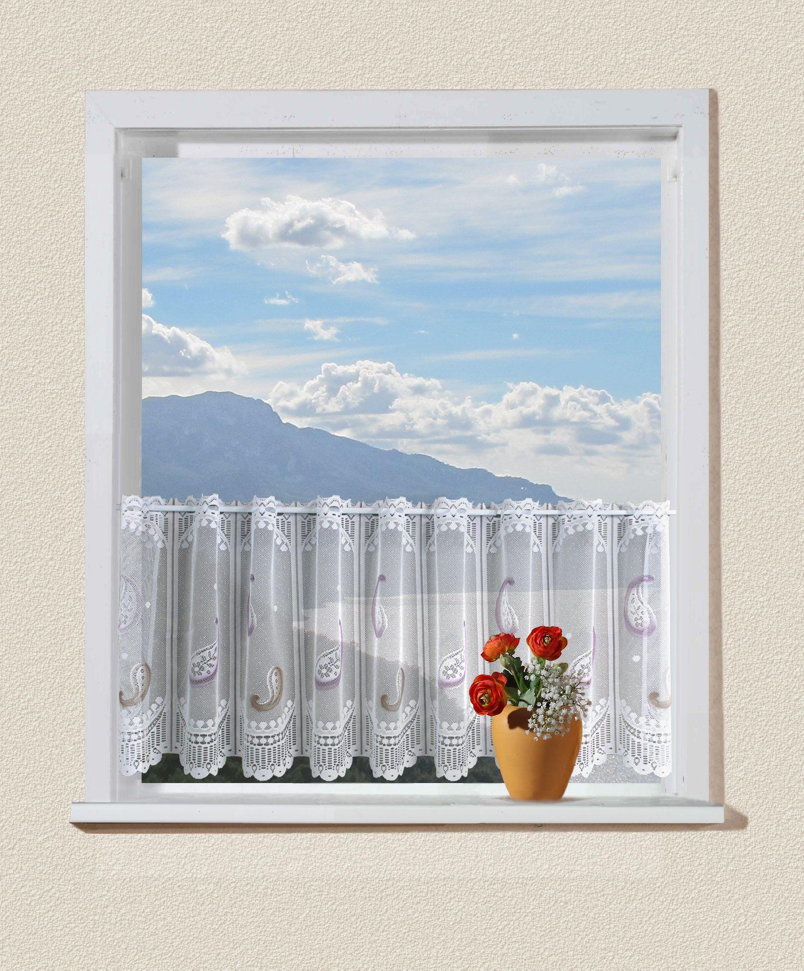 Anna Cortina Krótka firanka, tkanina, kolorowa, 100 x 250