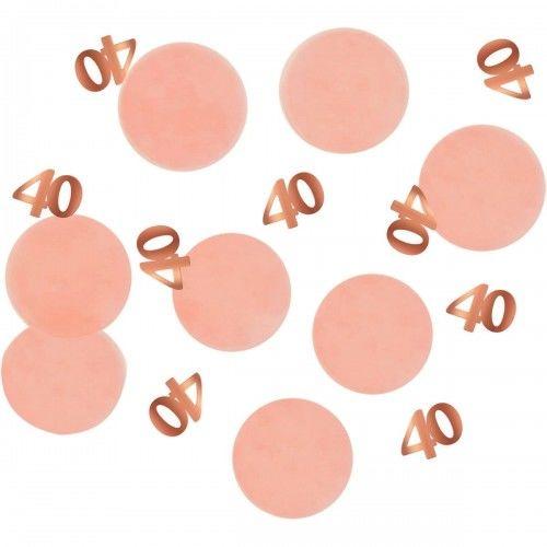 Konfetti na 40 urodziny, złote cyfry, różowe koła 25g.