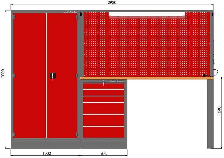 Zestaw warsztatowy (szafa, szafka, tablica, noga, blat sklejka, zawieszki) M-3-02-00