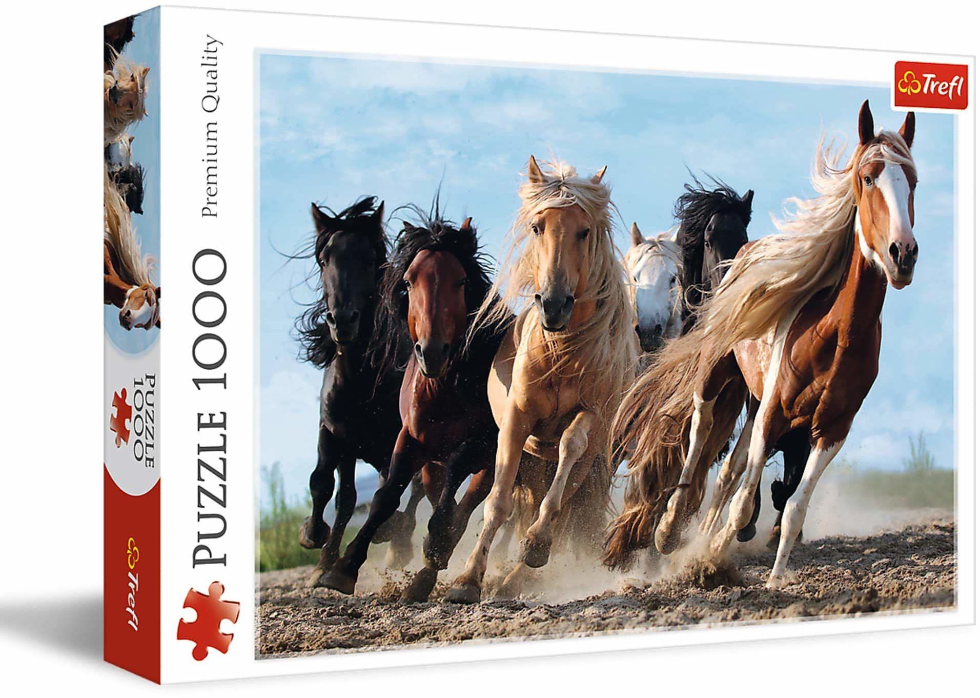 Trefl - Galopujące Konie - 1000 Elementów, Konie w Galopie, Konie o Różnym Umaszczeniu, Galop, Układanka DIY, Kreatywna Rozrywka, Prezent, Zabawa, Puzzle Klasyczne dla Dorosłych i Dzieci od 12 Lat
