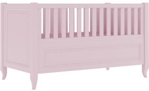Różowe eleganckie łóżeczko ze stylizowanymi nóżkami i frezowaną ramką