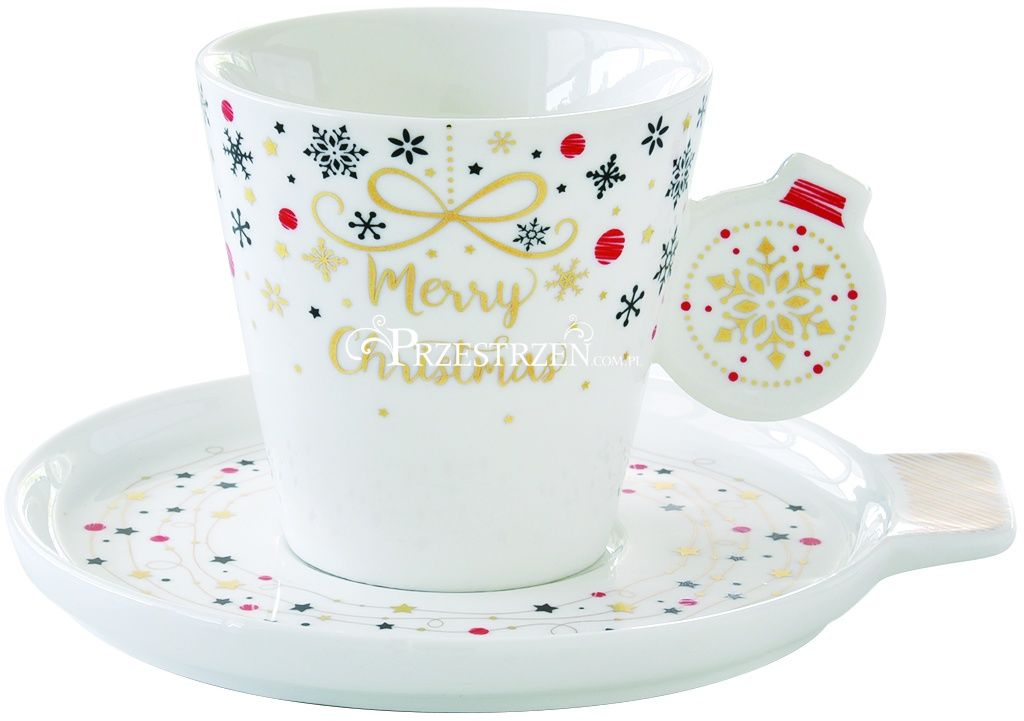 FILIŻANKA PORCELANOWA DO ESPRESSO ZE SPODKIEM Merry Christmas BOMBKA 150 ml
