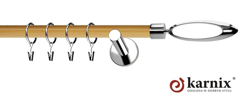 Karnisze Nowoczesne NEO Prestige pojedynczy 19mm Mirella INOX - pinia