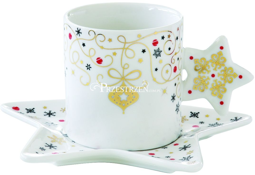 FILIŻANKA PORCELANOWA DO ESPRESSO ZE SPODKIEM Merry Christmas GWIAZDKA 150 ml
