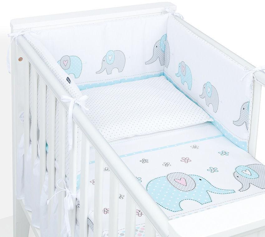 MAMO-TATO 2-el dwustronna pościel dla niemowląt 100x135 Elefant turkusowy / kropki szare