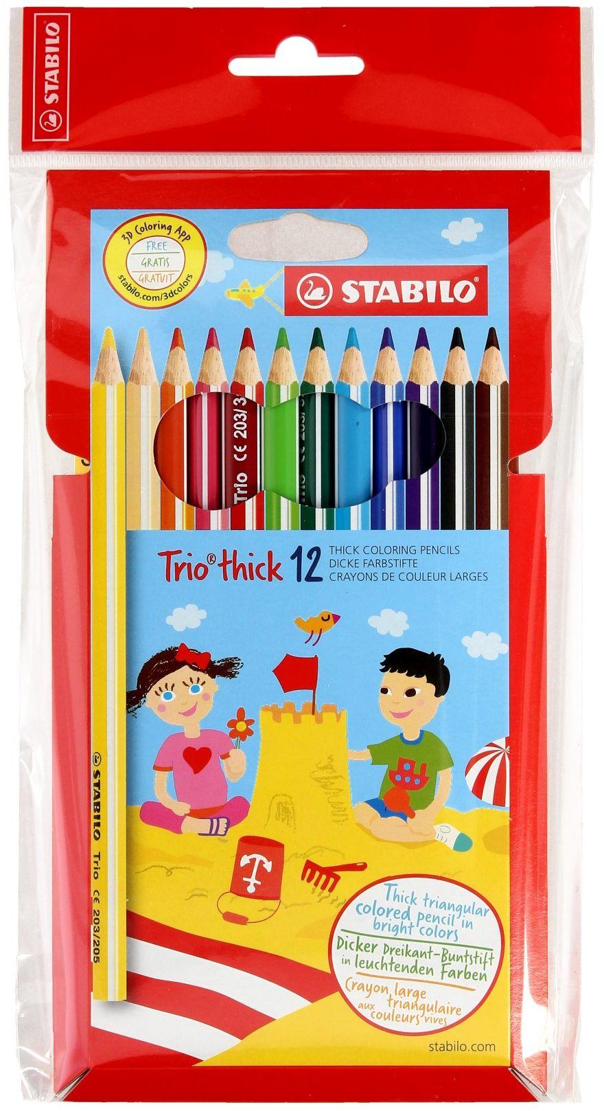 Kredki ołówkowe 12kol trójkątne TRIO Stabilo 203/12-01