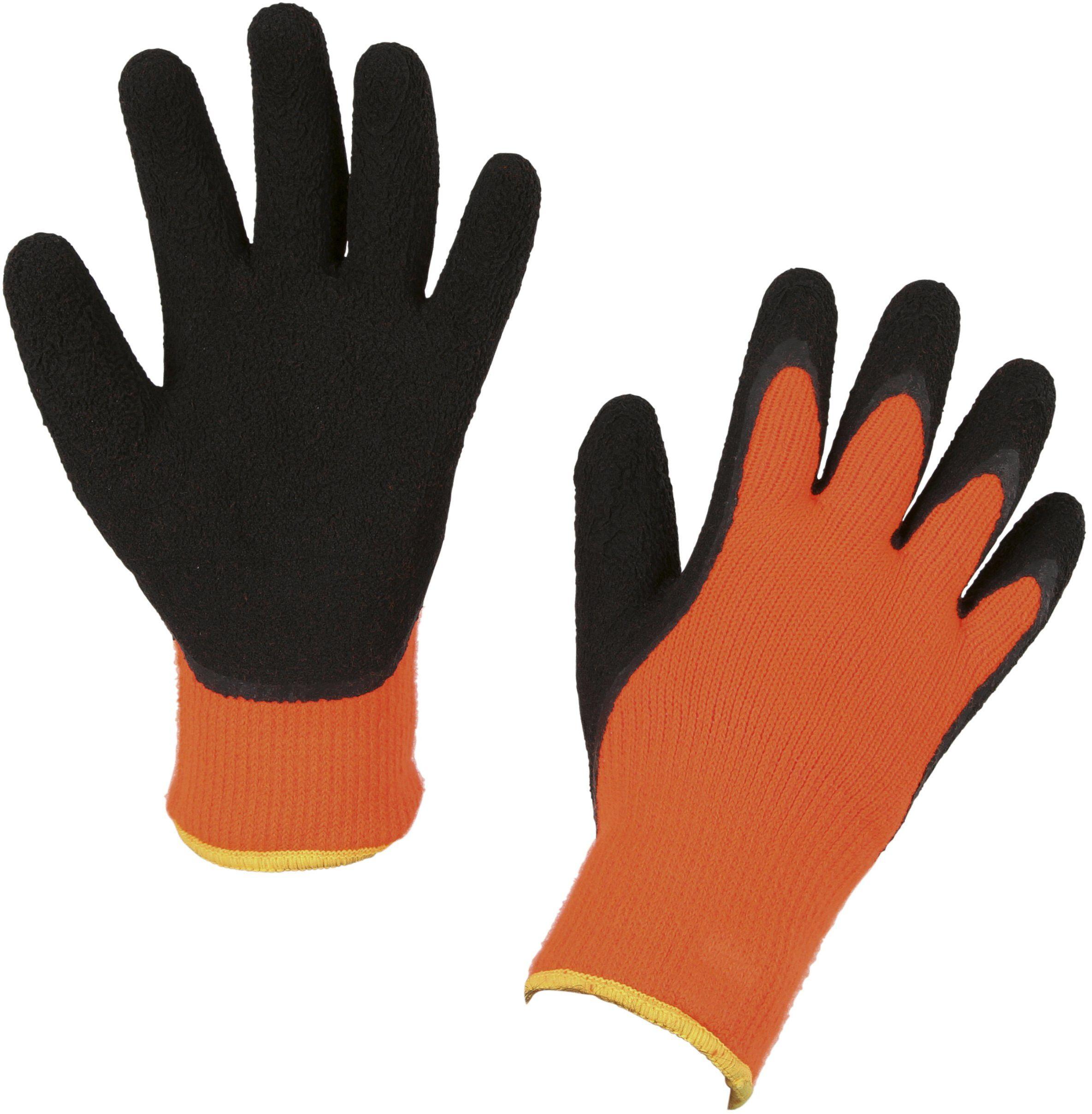 Kerbl 297485 rękawice zimowe IceGrip rozmiar 11/XXL, dzianinowe kapelusze lateksowe, pomarańczowe