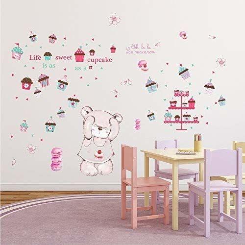 WALPLUS Life is A Sweet Cupcake Macaron Bear wewnętrzna naklejka na ścianę pokój dziecięcy Timi, winylowa, wielokolorowa, 24 x 35 x 2 cm