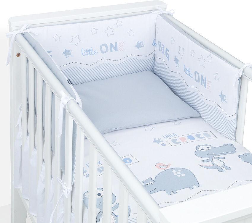 MAMO-TATO 2-el dwustronna pościel dla niemowląt 100x135 Kroko / stalowy