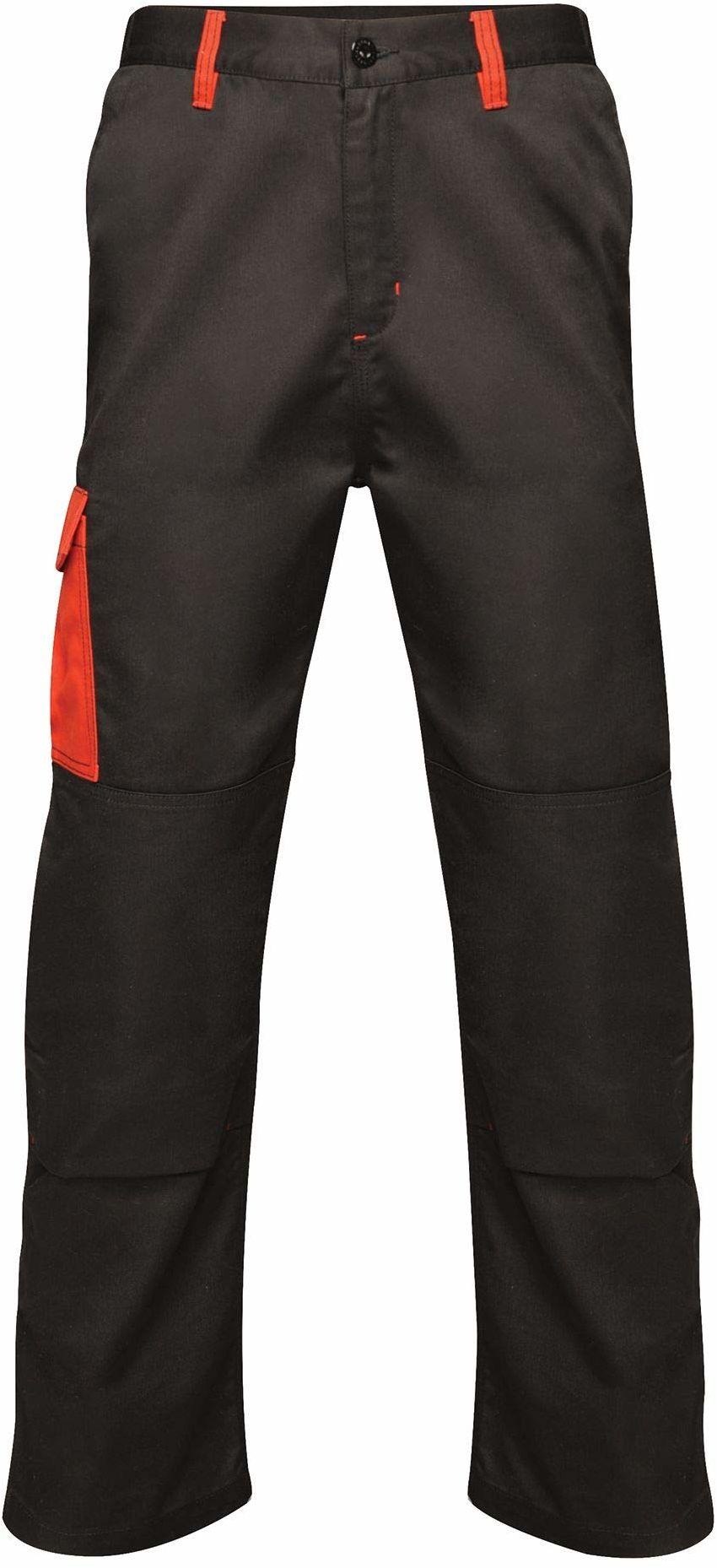 """Regatta męskie profesjonalne kontrastowe wytrzymałe spodnie cargo potrójnie szyte wodoodporne spodnie Black/Classic Red Size: 32"""""""