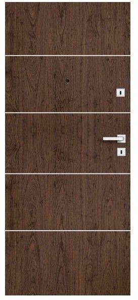 Drzwi wewnątrzklatkowe drewniane Dominos Alu 80 lewe orzech naturalny