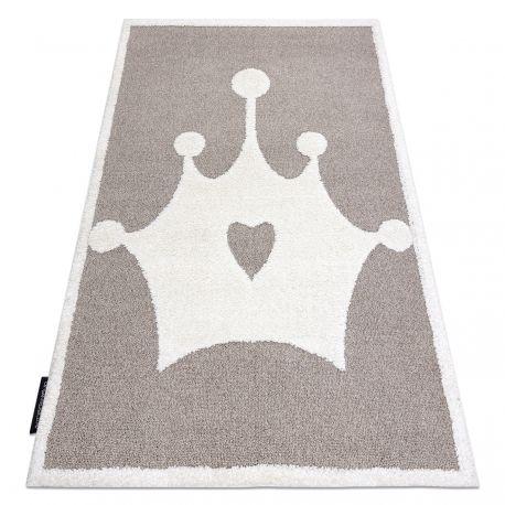 Dywan dziecięcy JOY Crown korona, dla dzieci - Strukturalny, dwa poziomy runa beż / krem 120x170 cm