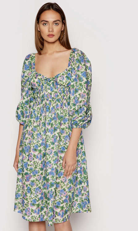For Love & Lemons Sukienka letnia Bridget CD2358 Zielony Regular Fit
