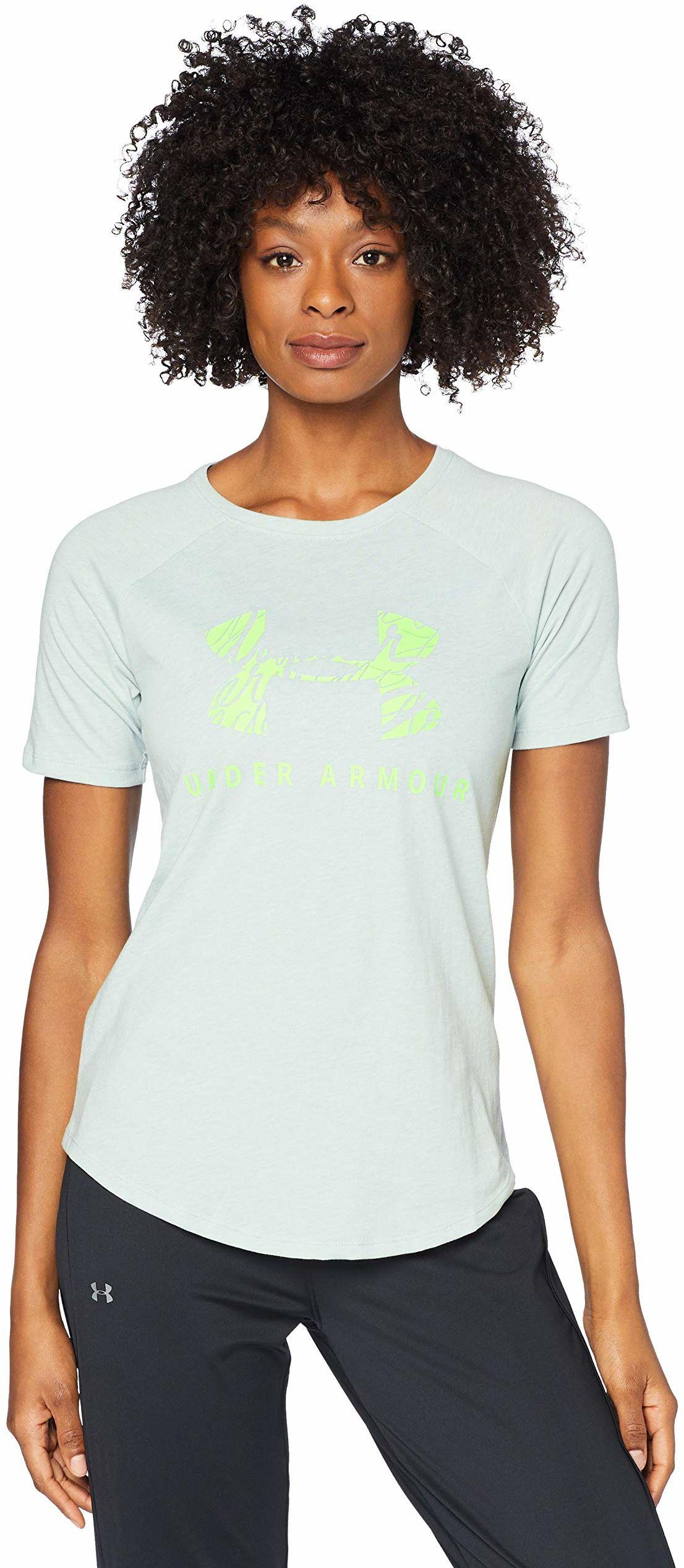 Under Armour zestaw damski dopasowany do piłki baseballowej koszulka graficzna koszulka z krótkim rękawem Atlas Green Light Heather/Lime Light/Lime Light (190) S