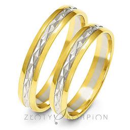Obrączki ślubne dwukolorowe Złoty Skorpion  wzór Au-A214