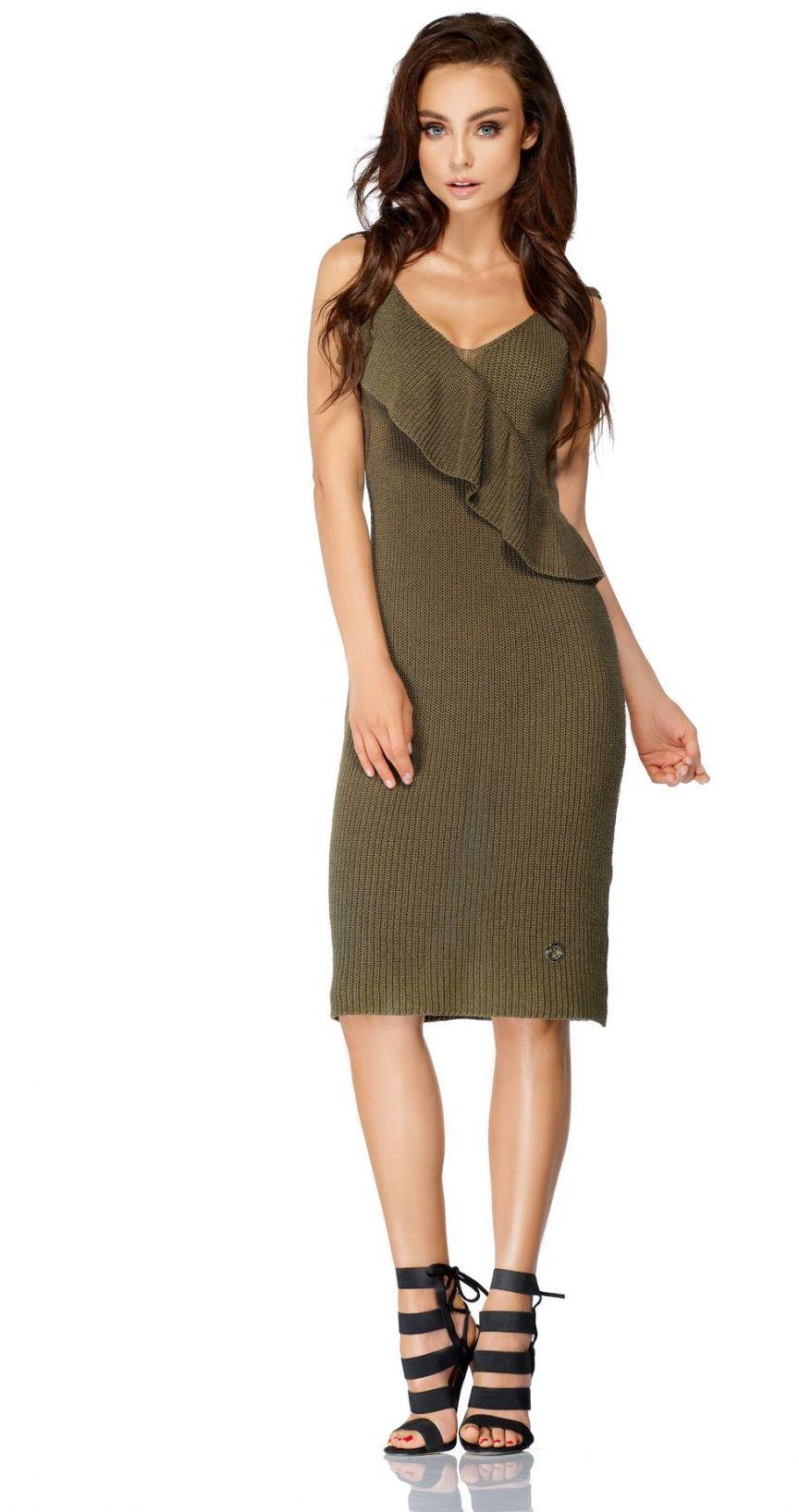 Sukienka sweterkowa na ramiączkach z falbaną LSG102 khaki