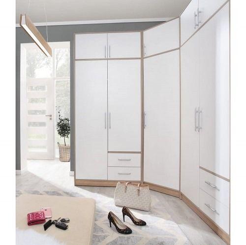Duża szafa narożna smart - sr4 sr3 z nadstawkami - dąb sonoma/biały lux