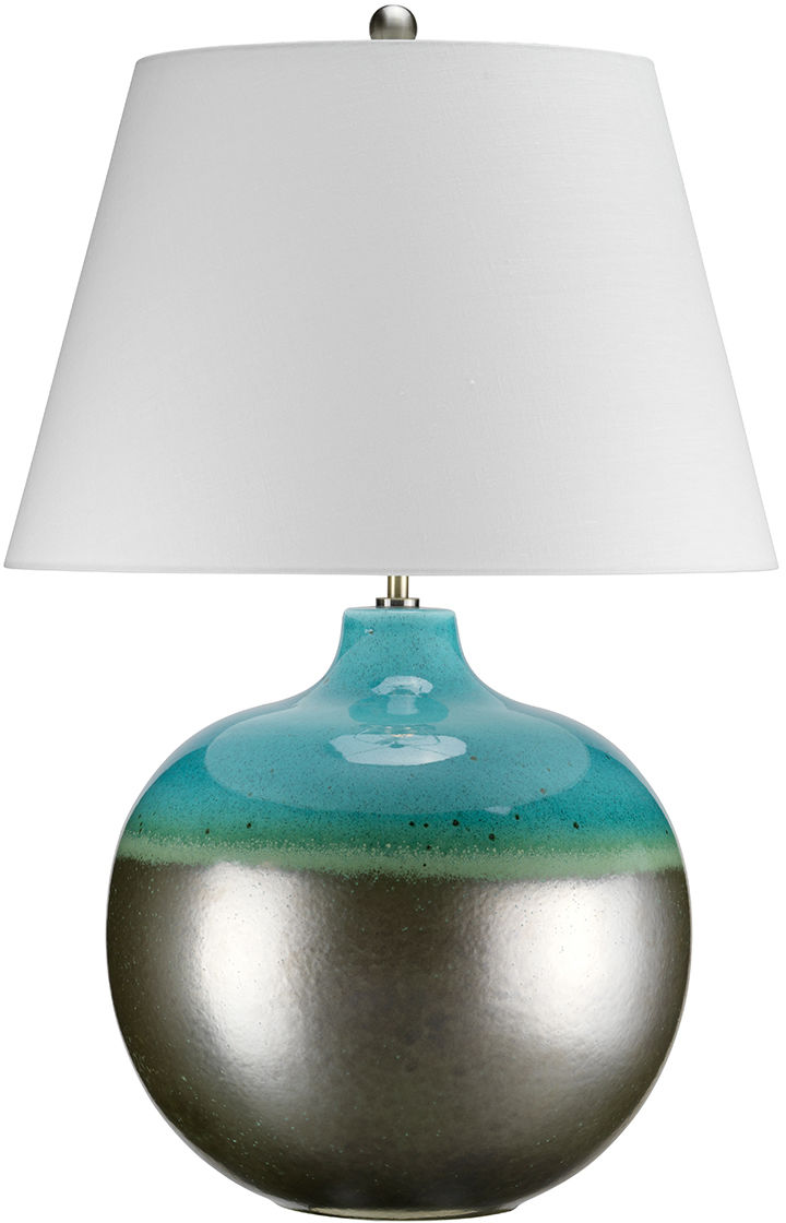 Lampa stołowa Laguna Large LAGUNA/TL LRG Elstead Lighting ceramiczna oprawa w kolorze grafitowo-turkusowym