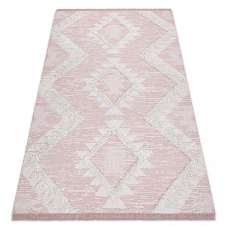 Dywan MOROC Romby 22312 Ekologiczny, EKO SIZAL frędzle - dwa poziomy runa różowy / krem, dywan z bawełny recyklingowanej 78x150 cm