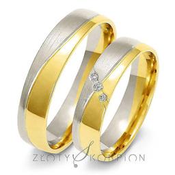 Obrączki ślubne dwukolorowe Złoty Skorpion  wzór Au-A215