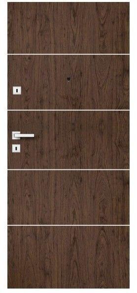 Drzwi wewnątrzklatkowe drewniane Dominos Alu 90 prawe orzech naturalny