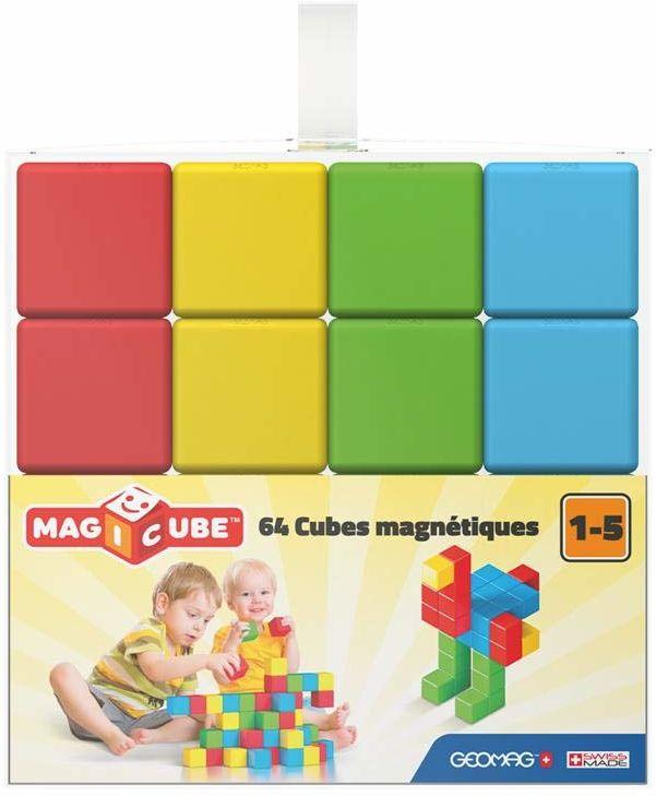 Geomag 149, Magicube Free Building Full Color - Magnetyczne budynki i gry edukacyjne, 64 kostki