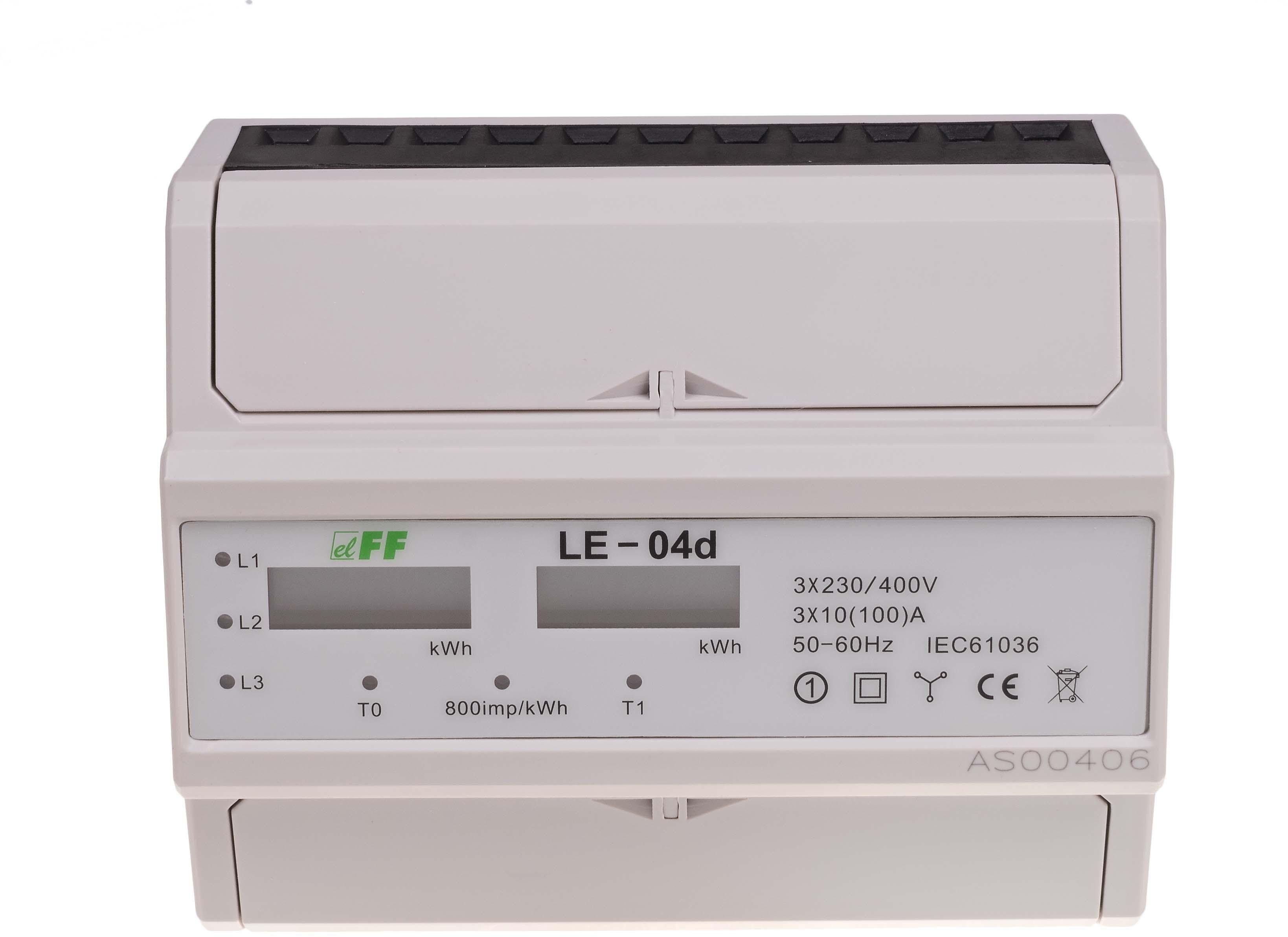 Licznik energii elektrycznej 3-fazowy 100A 230400V z wyświetlaczem LCD LE-04D