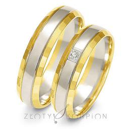 Obrączki ślubne dwukolorowe Złoty Skorpion  wzór Au-A216
