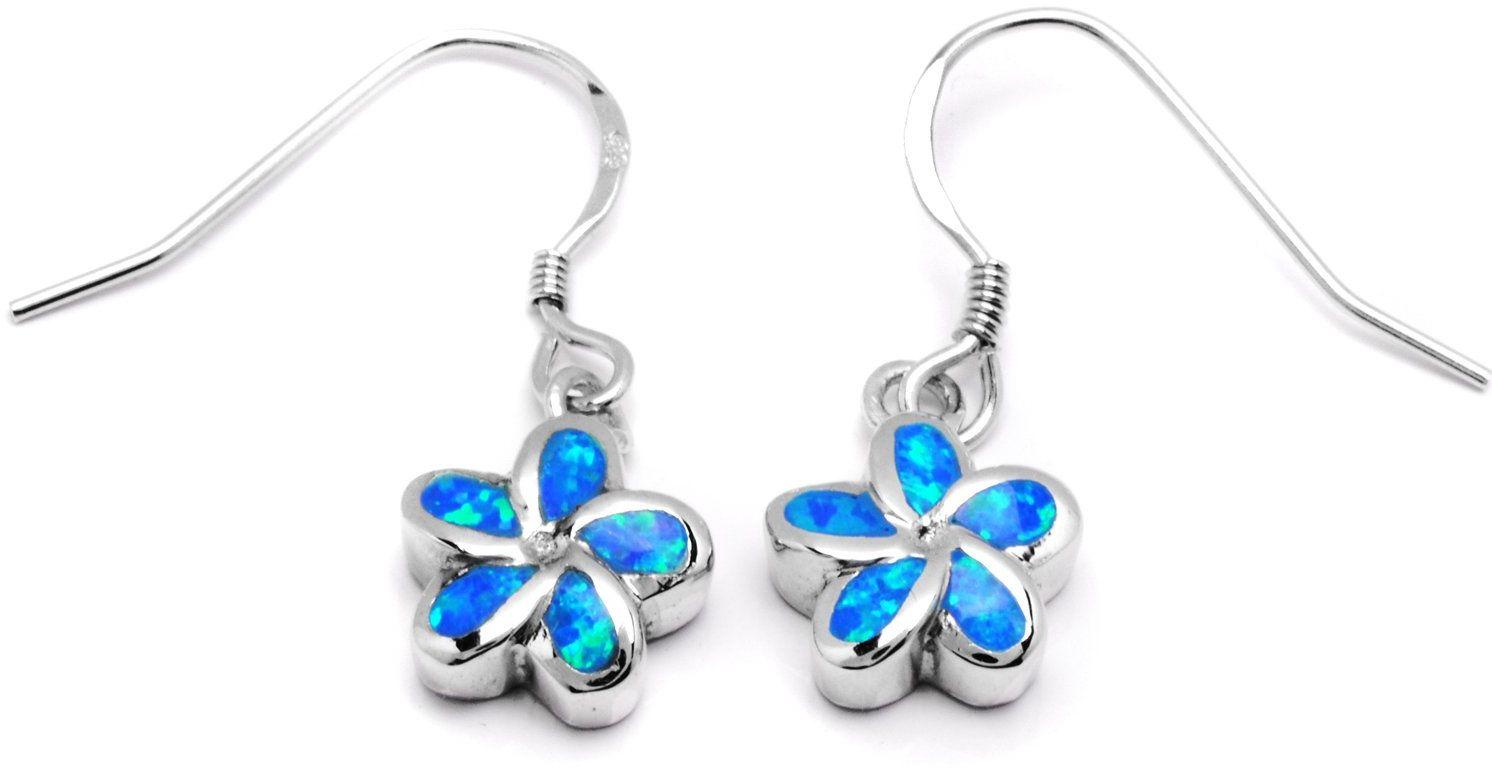 Srebrne Kolczyki Kwiatuszki z Niebieskim Opalem