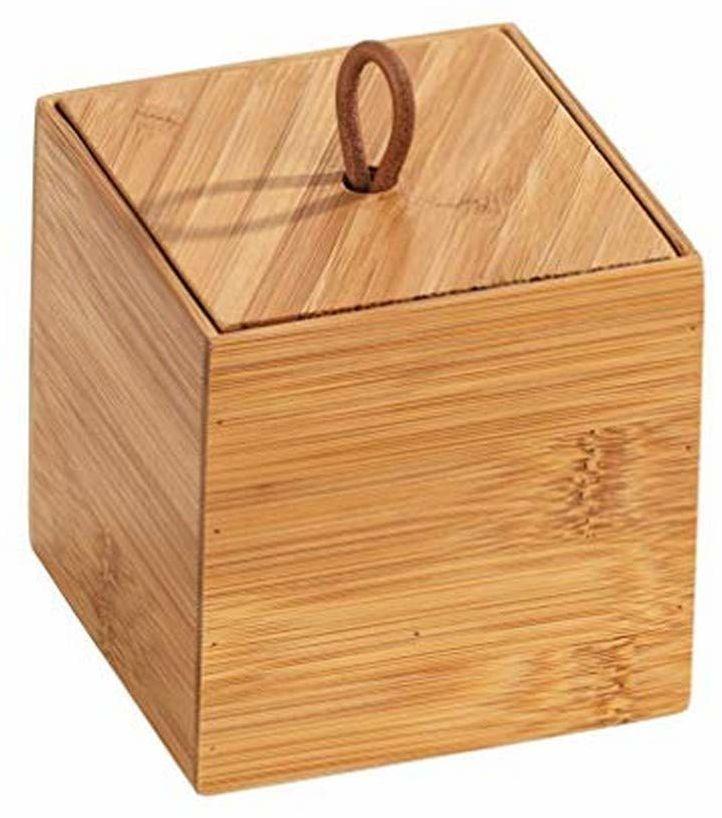 WENKO Bambusowe pudełko Terra S z pokrywką  pudełko do przechowywania, kosz łazienkowy, bambus, 9 x 9 x 9 cm, naturalne