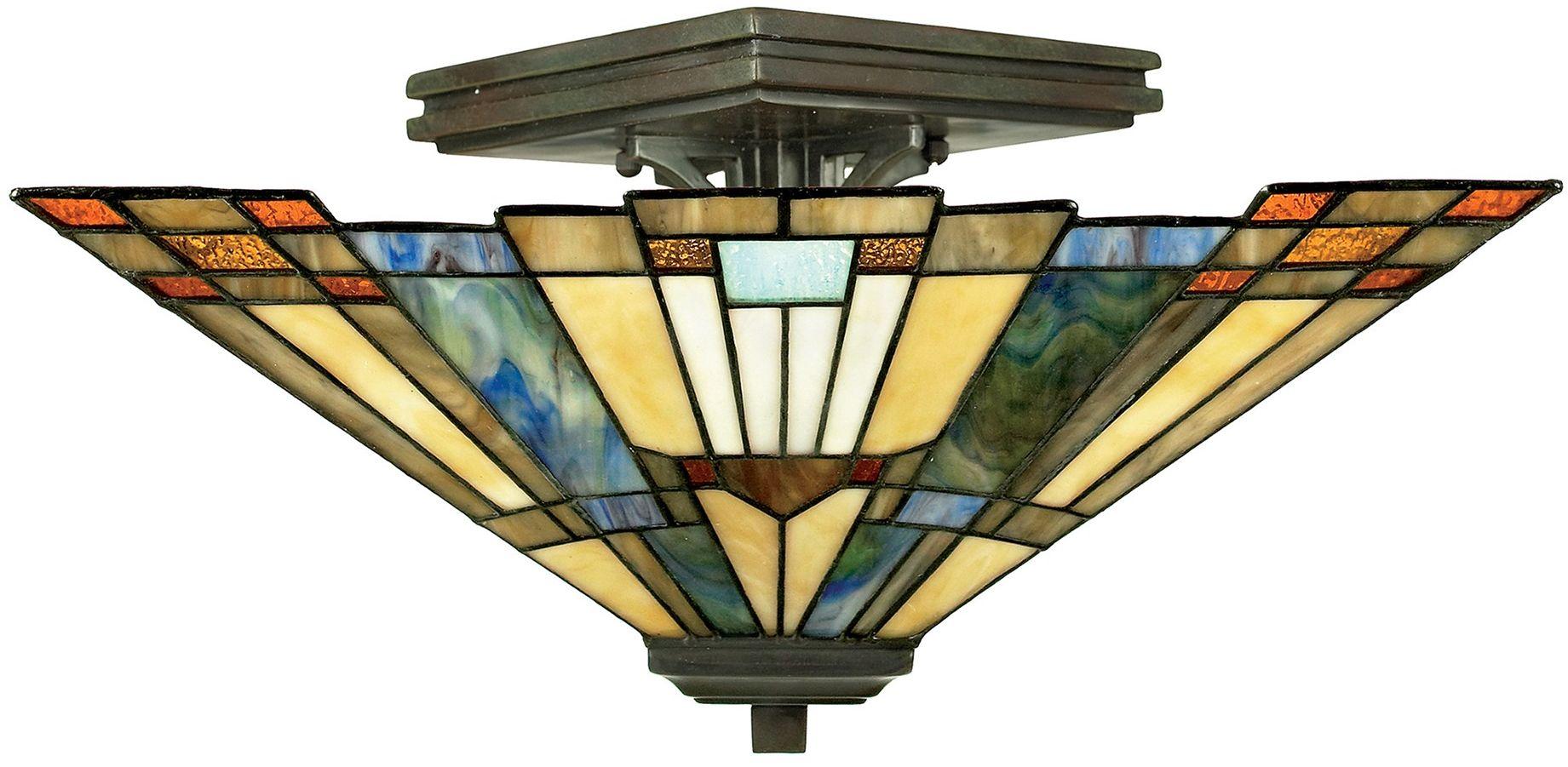 Inglenook lampa sufitowa witrażowa tiffany QZ-INGLENOOK-SF - Quoizel // Rabaty w koszyku i darmowa dostawa od 299zł !