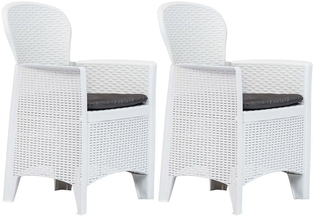 Krzesła ogrodowe z poduszkami Campos 2 szt - białe