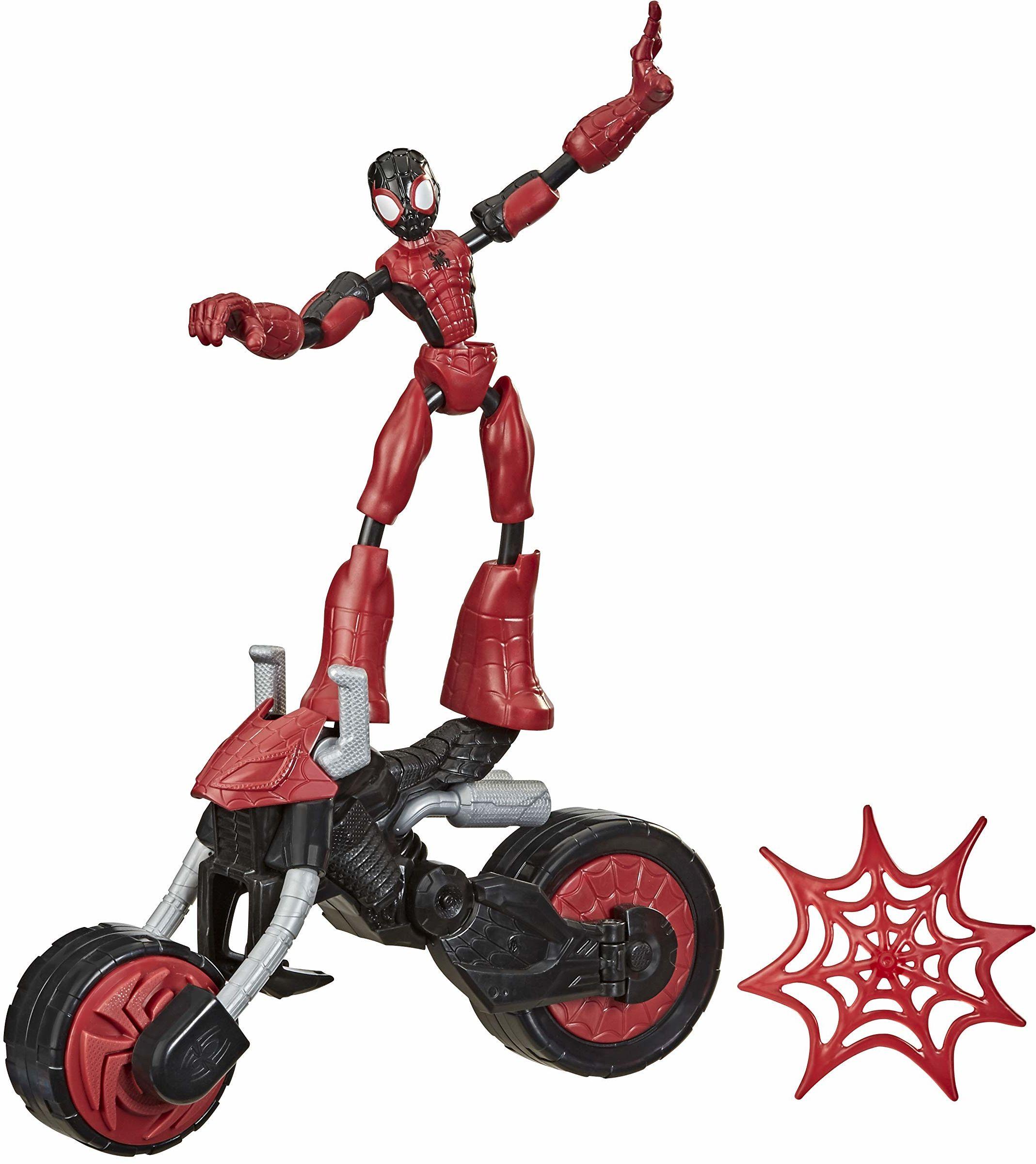 Figurka Spider-Man Flex Rider z kolekcji zginanych i odkształcanych zabawek Marvela, 15-centymetrowa giętka figurka i motocykl 2 w 1, dla dzieci w wieku od 4 lat
