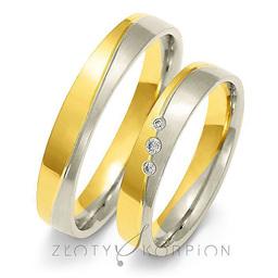 Obrączki ślubne dwukolorowe Złoty Skorpion  wzór Au-A217
