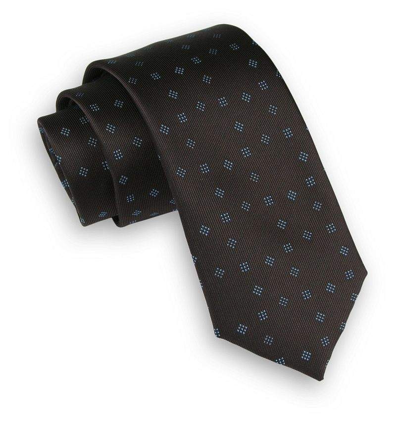Ciemny Brązowy Elegancki Krawat -Angelo di Monti- 6 cm, Męski, w Figury Geometryczne KRADM1590
