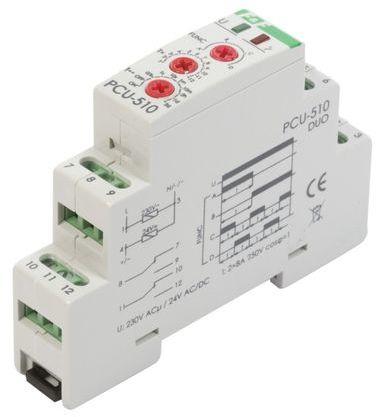 Przekaźnik czasowy 2P 8A 0,1sek-576h 230V AC, 24V AC/DC wielofunkcyjny PCU-510DUO