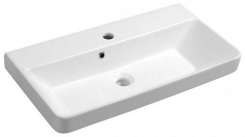 Umywalka wpuszczana w blat/wisząca 70x37 cm ceramiczna biała
