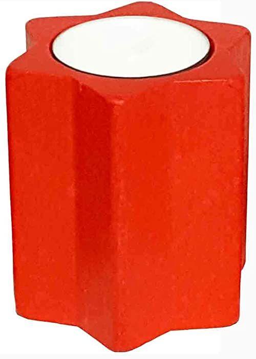 Hess Holzspielzeug 40026 - świecznik na podgrzewacze w kształcie gwiazdy, z drewna, czerwony, ok. 7 cm, dekoracja na specjalne okazje z Rudaw