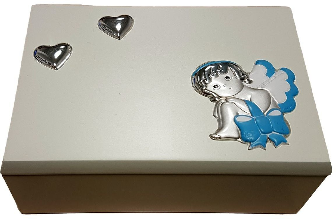 Szkatułka z emblematem aniołka Rozmiar: 9x13x5 cm Kolor: Niebieski SKU: F55-37A