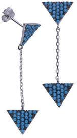 Srebrne kolczyki 925 trójkąty z nano turkusem 2,77g