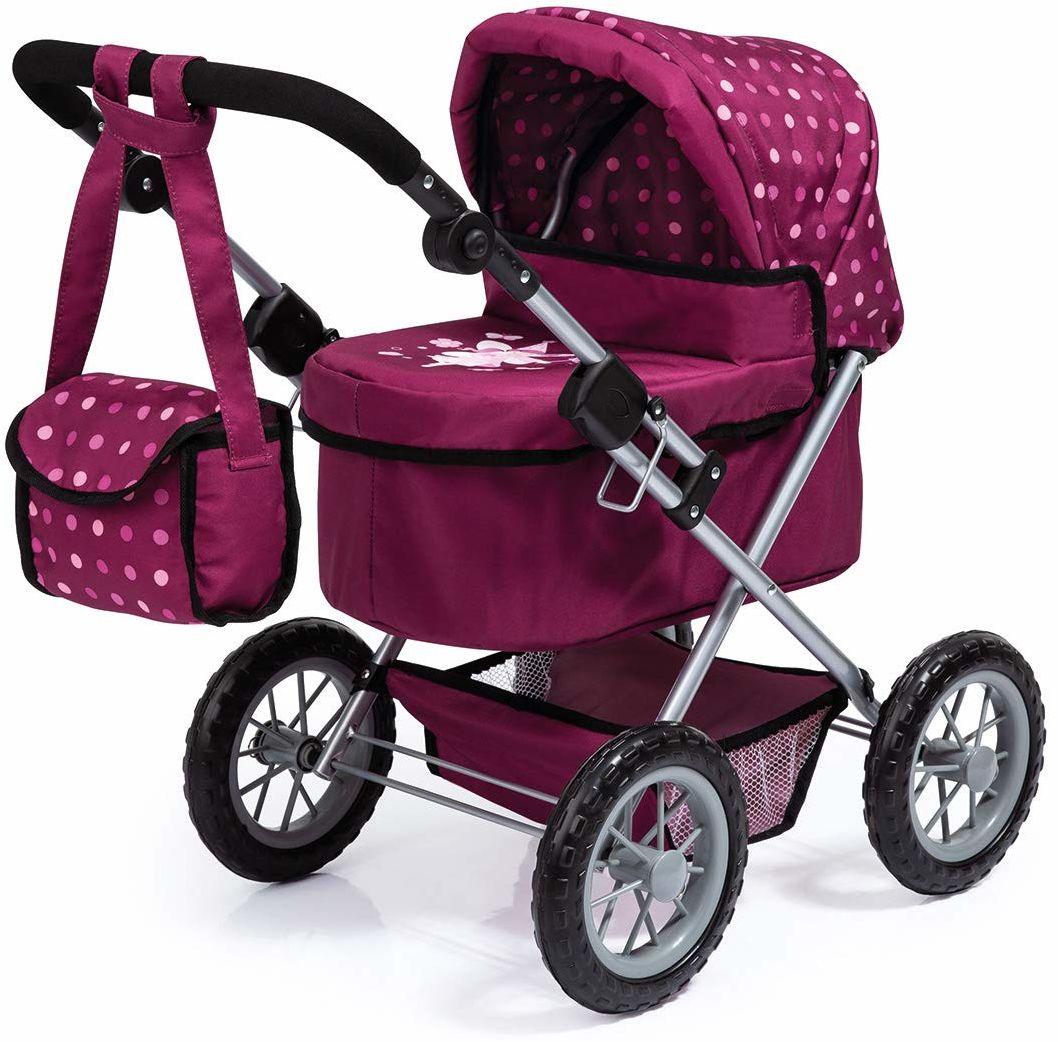 Bayer Design 13067AA wózek dla lalek modny z torbą na ramię i koszykiem na zakupy, bordowy, czerwony ze wzorem