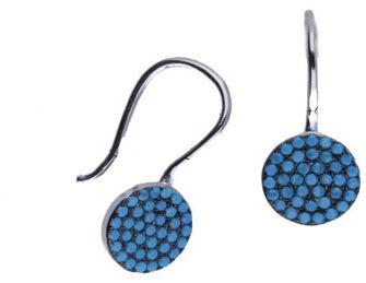 Srebrne kolczyki 925 okrągłe z nano turkusem 1,78g