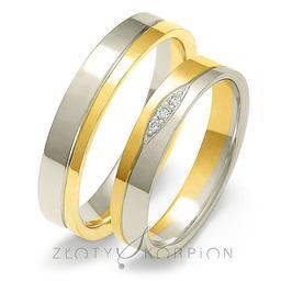 Obrączki ślubne dwukolorowe Złoty Skorpion  wzór Au-A221