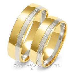 Obrączki ślubne dwukolorowe z imionami Złoty Skorpion  wzór Au-A222