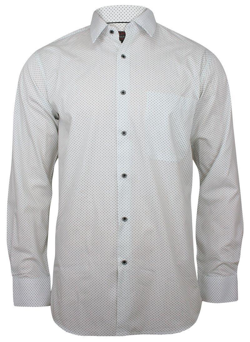 Biała Klasyczna Koszula Męska, Długi Rękaw - JUREL - 100% Bawełna, w Drobne Czarne Kwadraciki KSDWJRL0066