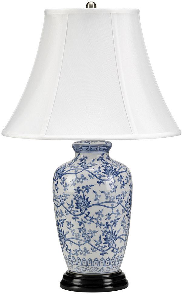 Lampa stołowa Blue Ginger Jar Elstead Lighting klasyczna oprawa z florystycznym wzorem